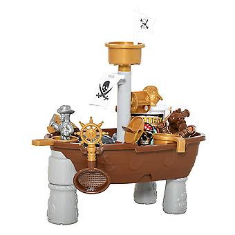 HOMCOM Pirate Ship Theme Sand and Water Table Beach Toy Set 2 in 1 Outdoor Activities Playset for Kids with Accessories 26 Pcs Garden Sandpit Sandbox for Beach Bath 3 Years Old Toddlers