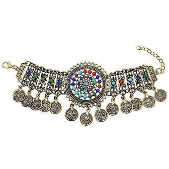 Řetěz hlavy Gold Fatima Ruční vlasový řetězec Tyrkysové hlavice (COLOR3)