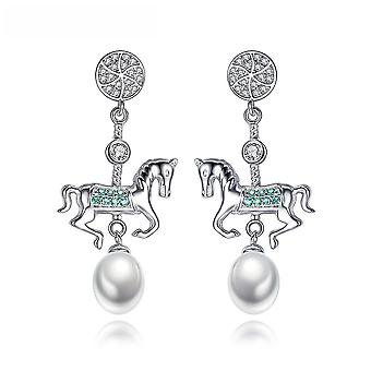 Earrings Carousel S925 Sterling Silver 8-9mm Pearl For Birthday Gift