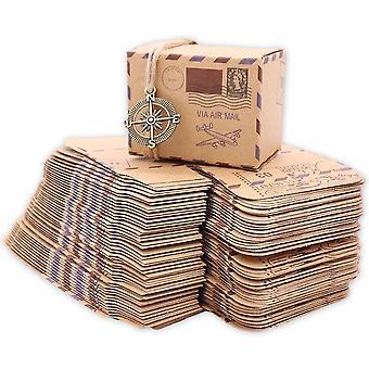 100pcs/lot Kraft Paper Candy Box With Globe Compass