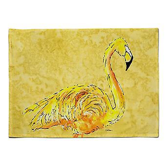 Caroline's Treasures 8872PLMT Flamingo auf gelbem Stoff Tischset, Multicolor