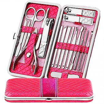 18pcs Nail Clippers Set Stainless Travel Beauty Kit With Leather Case