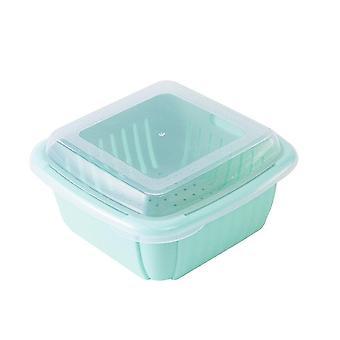 3Pcs Multifunction Double-layer Drain Basket with Lid Kitchen Refrigerator Drain Storage Box Plastic