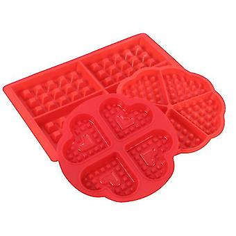 Silicone square heart shaped waffle cake mold(4 Hearts Mold)