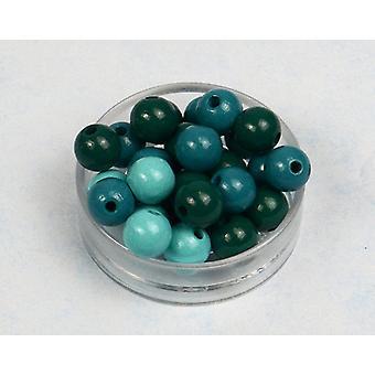 12mm Turquoise Mix métiers en bois enfilage perles adultes - 40pk