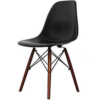 Fusion Living Eiffel Inspireret Sæt - Lille hvid cirkulær spisebord med valnød træben med to stole - forskellige farver
