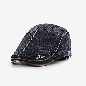 Knitted Peaked Cap Autumn And Winter Thick Warm Beret(Dark Blue)