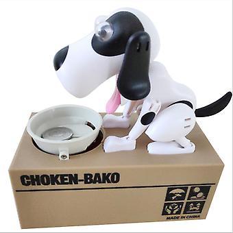Niedliche Welpen Hund Sparschwein Spardose Spargeld sparen Topf Münzbox Kann elektronisches Sparschwein Kinder Kinder Weihnachtsgeschenke (schwarz und weiß)