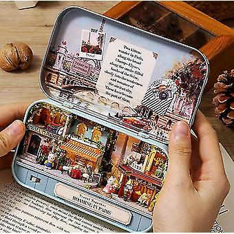 Box theatre diy wooden house for dolls miniature home 13 styles nostalgic theme doll house furniture