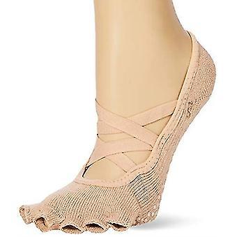 Toesox Half Toe Elle Criss Cross Yoga Pilates Grip Dance Socks - Nude