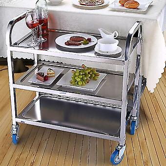 Mobile Dining Trolley Stainless Steel Three Tier Tea Cart Table