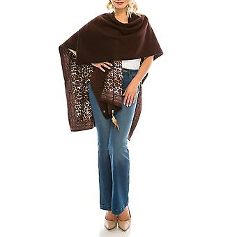 Leopard Printed Fleece Reversible Poncho
