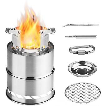 Camping Wood Stove, Folding Backpack Windshield Stove, Portable Stainless Steel Wood Stove, Outdoor Picnic Alcoh