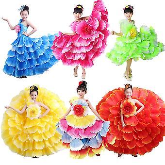 Children Vintage Ruffle Floral Flamenco Dress