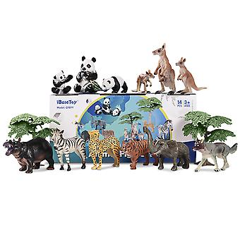 Ibasetoy 14pcs Figurines animales Ensemble réaliste jouet modèles animaux sauvages pour les enfants et les éducations des tout-petits