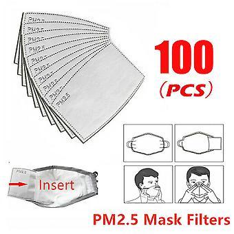 100pcs Pm2.5 Filtre masque facial Filtres respiratoires à charbon actif Lot