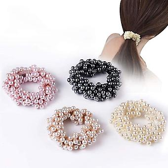 Hair Scrunchy Pearl Elastic Hair Rope Accessories For Women And Girls Pack Of 4