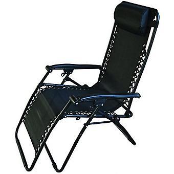 Textilene Reclining Chair Black Outdoor Garden Sun Relaxing Camping Festivals