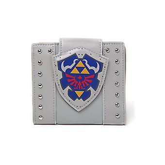 Nintendo Legend of Zelda Hylian Shield Bi-Fold portemonnee munt Pouch - grijs