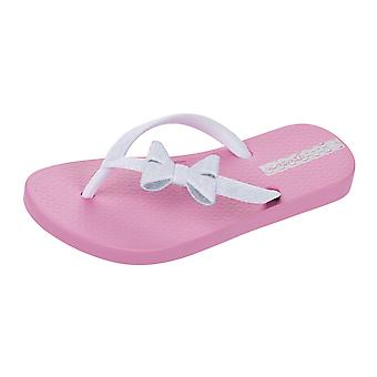Ipanema Sparkle Bow II flickor Flip Flops / sandaler - rosa och vit