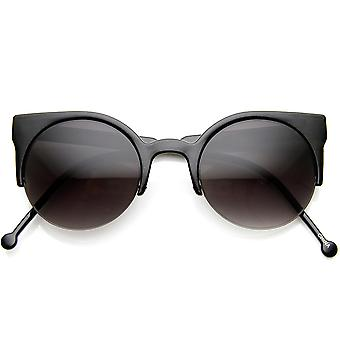 Womens Fashion Half Frame Round Cateye Sunglasses