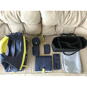 TOTO BAG - Dark Blue - Luxury Baby Diaper Nursing Bag with Multi-compartments Nappy Changing Mat Shoulder Straps Thermal Bottle Bag Card Purse Sea Horse Sensory Toy Detachable Buggy Pocket Waterproof Clothes Pouch Numerous Pockets Multifunctional Design and More.