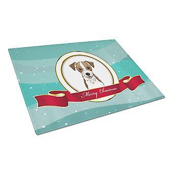 Jack-Russell-Terrier Frohe Weihnachten Glas Schneidebrett groß