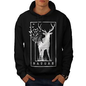 Deer Butterfly Nature Men BlackHoodie | Wellcoda