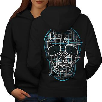 Head Face Panel Skull Women BlackHoodie Back | Wellcoda
