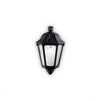 Ideal Lux Anna negro resina porche tradicional al ras de la pared linterna