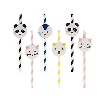 Paper Straws - Mini Animals Party - Pack of 12 - Party Tableware