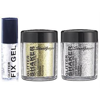 Stargazer Glitter solto Shaker com Glitter Fix Gel cola-prata, ouro