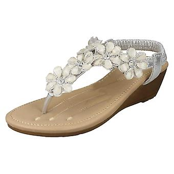 Ladies Savannah Mid Wedge Toepost Sandals F10781 - Silver Synthetic - UK Size 7 - EU Size 40 - US Size 9