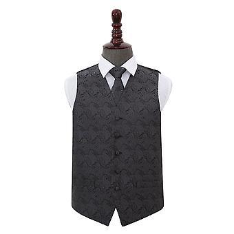 Anthrazit grau Paisley Hochzeit Weste & Krawatte Set