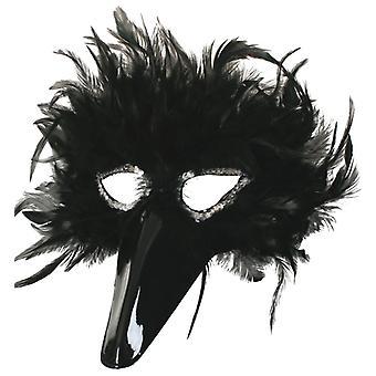 Federdomino oční maska černý benátský karneval