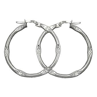 Hoops round silver diamond Creole bracket Cap 29 mm 925 sterling silver