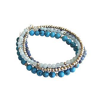 Pulseira, jogo de pulseiras de pedras preciosas turquesa pirita aquamarine pulseira lapis lazuli