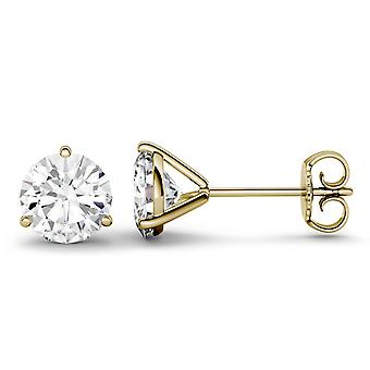 14K Yellow Gold Moissanite by Charles & Colvard 5.0mm Round Stud Earrings, 1.00cttw DEW