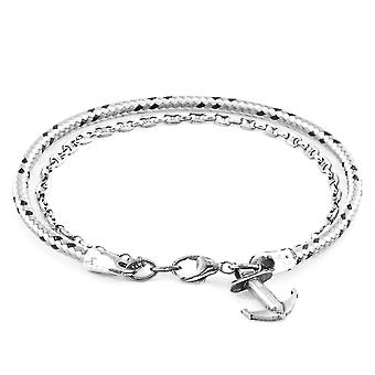 Anchor & Crew Grey Dash Filey Silver and Rope Bracelet