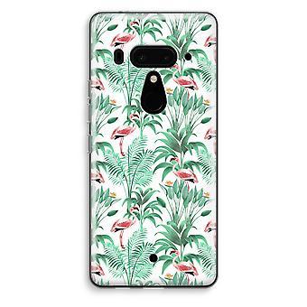 HTC U12+ Transparent Case (Soft) - Flamingo leaves
