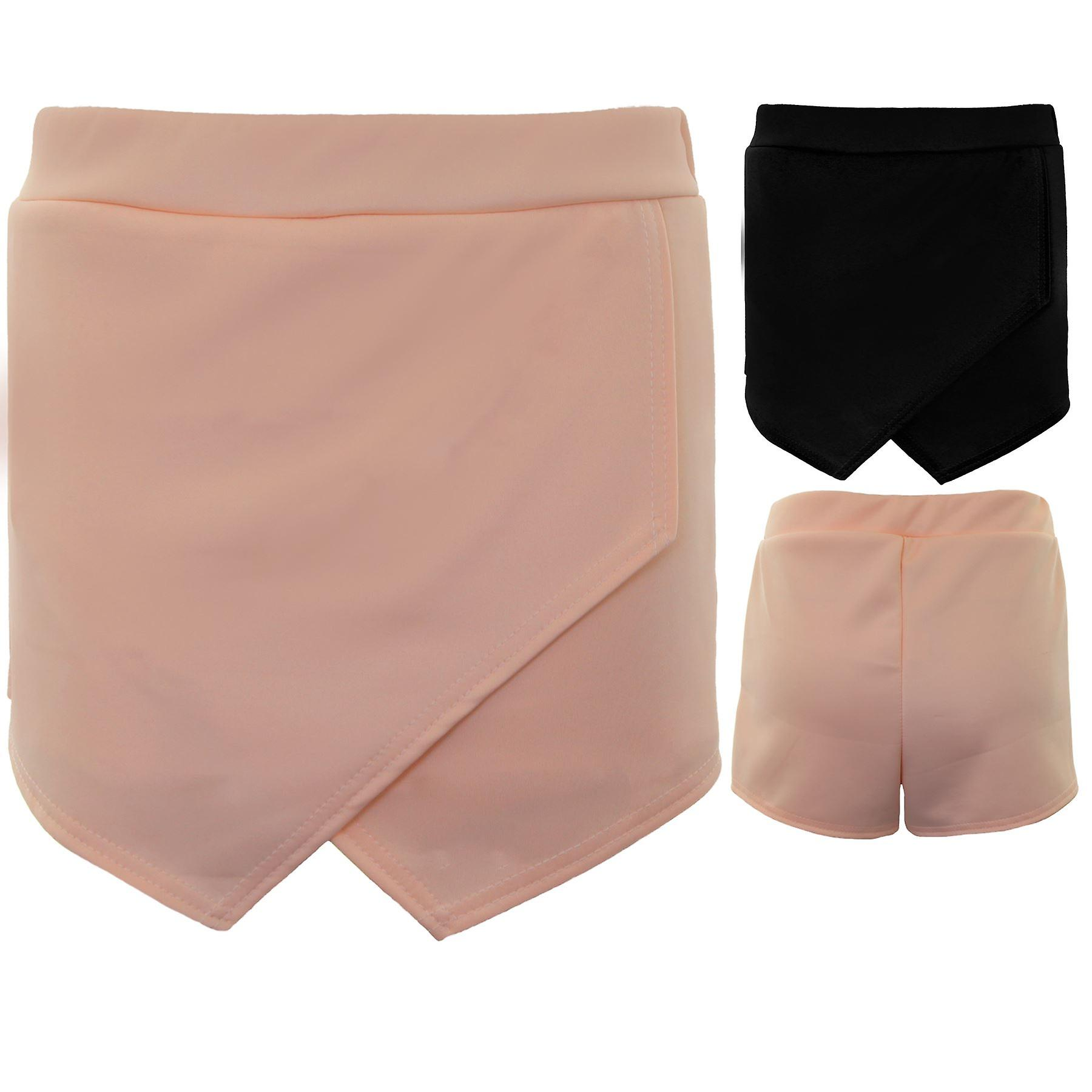 Ladies Smart Wrap Front Asymmetric Hem Mini Culottes Skort Plain Hotpant Shorts