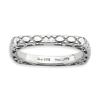 2.25mm 925 Sterling Silver Patterned Rhodium plated Stackable Expressions Polished Rhodium plate Square Ring Jewelry Gif