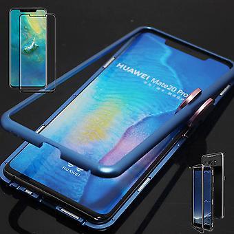 For Huawei kompis 20 Pro magnet / metall / glass bag tilfelle Blau gjennomsiktig + 0.3 mm H9 4 d vanskelig full buet herdet glass