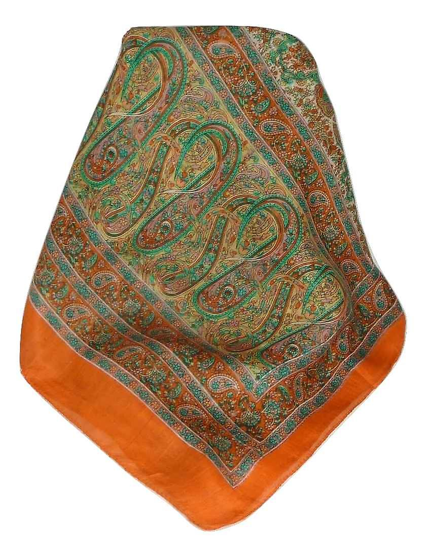Mulberry Silk Traditional Long Scarf Dhobi Terracotta by Pashmina & Silk