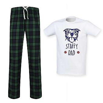 Mens Staffy Dad Tartan Pyjama Set