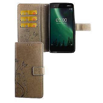 Mobiltelefon fallet för Nokia 2.1 / Nokia 2 2018 Pocket plånbok skydd täcker fallet grå