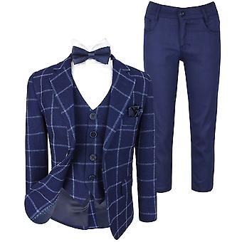 Flamingo Boys Modern fit Check Suit in Navy Blue