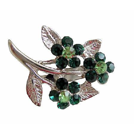 Women Fashion Flower Brooch in Green & Peridot Silver Plated Bouquet