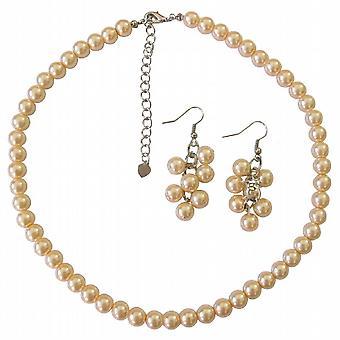 Brzoskwinia perły naszyjnik kolczyki ślubne druhna prezent zestaw biżuterii