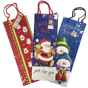 Christmas Shop Long Bottle Gift Bags (3 Pack)